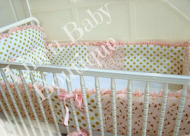 pink and gold baby bedding crib set reversible bumper set. Black Bedroom Furniture Sets. Home Design Ideas