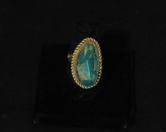 Blue Gem Silica Ring set in Sterling Silver size 75