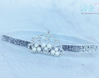 Gorgeous Vintage  Silver Princess Tiara Crown Baby Girl Childs Headband