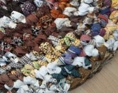 Thick Earthy Oval Crocheted Rag Rug