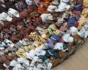 Thick Earthy Oval Crocheted Rag Rug