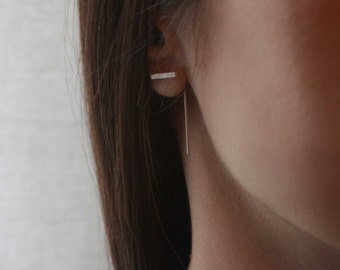 Minimalistic bar line earrings Simple 10, short line earrings
