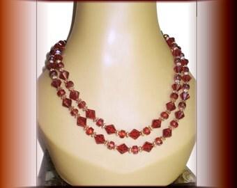 Vintage Beaded Necklace Orange Rust Plastic Beaded Necklace