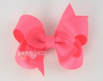 Neon Pink Hair Bow - girls hair bows - toddler hair bows - baby hair bows - boutique girl bows - 3 inch bows - girls hair clips