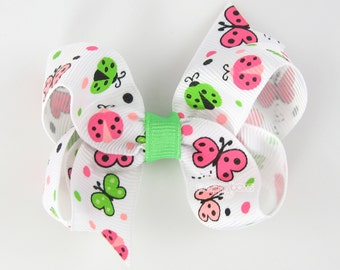 Ladybug and Butterflies Hair Bow Neon Green and Pink Butterfly - Baby Toddler Girl - Boutique Hair Bow Non Slip Alligator Clip - Summer
