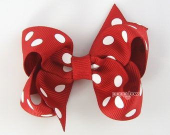 Red and White Polka Dot Hair Bow - 3 Inch - Hair Clips for Girls Alligator Clip Babies Toddler