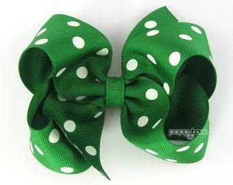 Girls Hair Bows, kelly green hair bow polka dot, 4 inch hair bows, big hair bows, boutique bows, large hair bows, girl hairbows, toddler