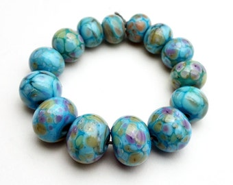 Lampwork Beads Frit on Light Turquoise Set of 14