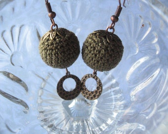 Crochet Earrings, Crochet Bead Earrings, Metal Dangle Earrings, Green Crochet Beads, Crochet Ball Earrings, Metal Drop Earrings
