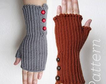 Knit Fingerless Gloves Pattern // Corduroy Button Mitts – Pattern Only – PDF