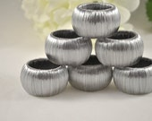 Silver Napkin Rings - Set of 6 - Handmade
