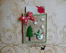 Gift card holder, Felt machine embroidery gift card holder