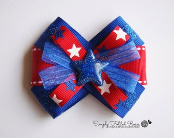 """Blue Star loopy bow - 3"""" - Perfect for the 4th of July!"""