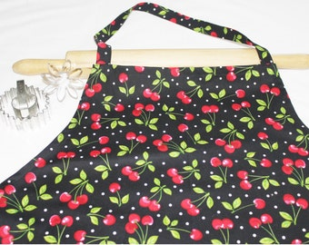 Plus Size Cherries on Black Apron