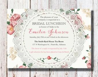 Vintage Rose Bridal Luncheon/Shower Invitation