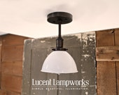 Industrial Light with Exposed Socket Design with White Metal Dome Shade