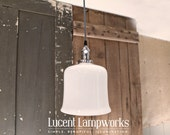Pendant Lighting With Opal Flared Glass Shade and Exposed Socket Design