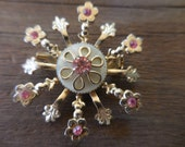 Vintage Gold Tone Mother of Pearl Center Pink Rhinestones Snowflake Looking Flower Fleur De Lis Pin/Brooch 1950s to 1960s