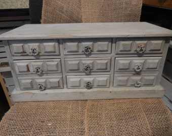 """Vintage A Price Import Japan 1960s to 1970s Wood Jewelry Box Large Light Gray Chalk Painted 9 Drawer Music Box """" Rain Drops Keep Falling"""""""