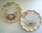 Amazing Sea Life Plates Hand Painted China Set, Antique Jean Pouyat Limoges Sea Shells Dining Decor