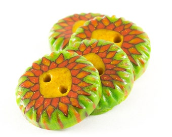 Four ethnic sun ornament millefiori polymer clay buttons