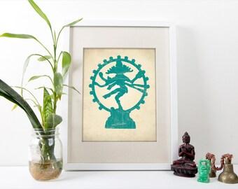 Dancing Shiva Print, Shiva Art Print, Yoga Decor, Hindu Gods Poster, Hindu Wall Art, Hindu Art Home Decor, Hindu Decor, Hinduism Art Print