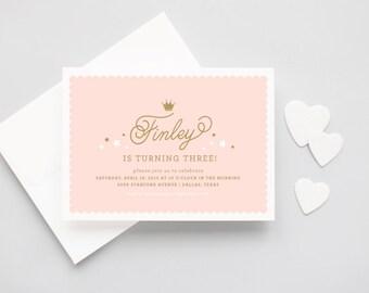 Princess Crown Script Birthday Invitations - Little Princess Girls Birthday Party Invitation - Princess Party Invitation