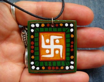 Swastika pendant,symbol of infinity, fertility, eternal life and happiness,original painting,swastika neckaces,sacred geometry
