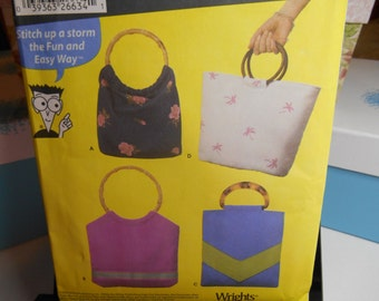 Purses to Sew Soft Bags Sewing Pattern Simplicity 5567 UNCUT
