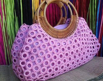 Beautiful Boho Light Pink Crochet Bag With Nylon Lining , Top zipper, Inside Pocket And Rattan Loop Handles
