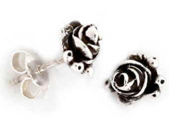 Sterling Silver Hobart Rosebud Earrings