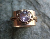 Wide Silver Band with Amethyst and Gold accents