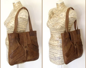 Recycled Leather Boho Hobo Handbag Tote in Distressed Chocolate Brown - Upcycled Leather