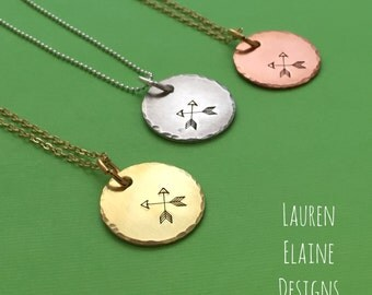 Crossed Arrow Friendship Necklace- Hand Stamped Copper, Brass, or Aluminum Charm- You Choose Chain