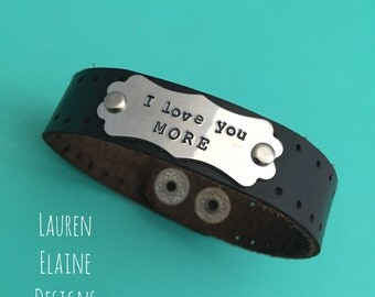 Custom Hand Stamped Leather Bracelets with Fancy Aluminum Charm (Pick your Phrase, Font, Color)