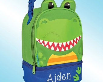 Lunchbox - Personalized and Embroidered - 2 Insulated Compartments - Lunch Pal - DINOSAUR