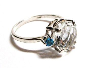 """Quartz, white quartz, quartz ring,  3 stone ring, white blue, s 7 1/2 """"Fresh water blue"""""""