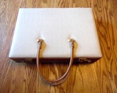 Cream Tan Brown Briefcase Combination Locking Case Hard Side Firm Sided
