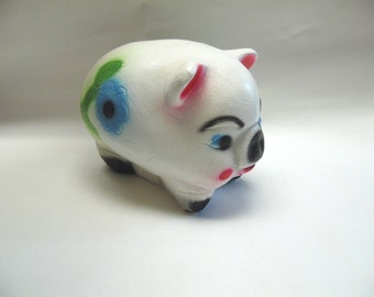 Large Chalkware Piggy Bank Collectible White Flower Pig