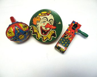Vintage Noise Makers Litho Tin Set of Three Clacker New Years Birthday Party Toys