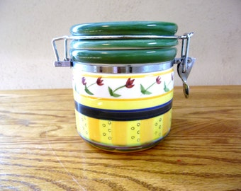 Flowered 80's Canister Yellow Red Green