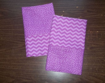Set of 2 Pillow Cases in coordinating  Lavender/Purple colors & patterns 100% cotton standard/queen