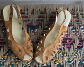 vintage tan leather wedge sandals size 8 1/2