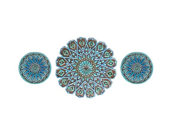 Moroccan Ceramic Wall Lights : Moroccan wall art - wall decor - morroccan sculpture - set of 3 ceramic tiles