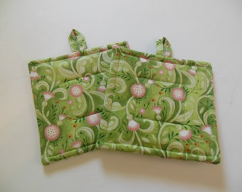 Potholders, Set Of Two Quilted Potholders, Pair of Potholders