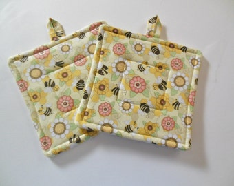 Bees and Flowers Potholders