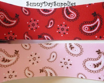 Grosgrain Bandana Ribbon - Pink or Red Paisley Print Ribbon ~ 1 YARD,  1.5 inches wide ~  Western, Paisley, Bandana, RED and PINK