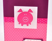CUSTOM Listing for Patti,, Pink Piggy Greeting Card, Pig, Happy Birthday, Polka Dots, Stamped, Razzleberry, Pink, Purple, Blank