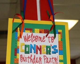 Building Blocks Inspired Custom Party Door Sign