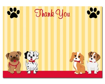 Puppy Dog Thank You Note Printable - Instant Download - Sit Stay and Play Collection